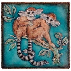 German Glazed Terra Cotta Monkey Tile by Karlshrue