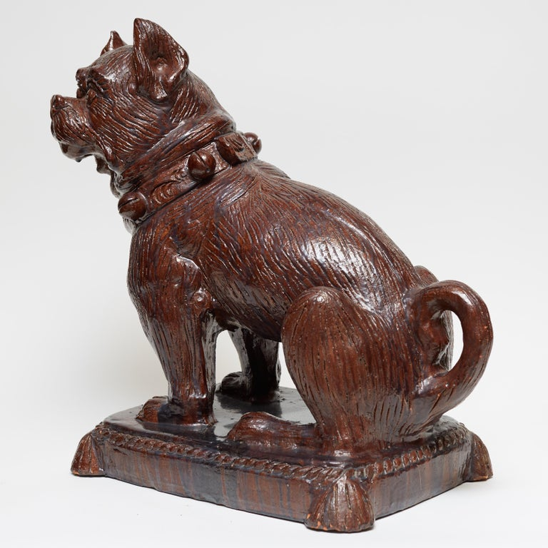 German Glazed Terracotta Bulldog Sculpture In Good Condition For Sale In New York, NY