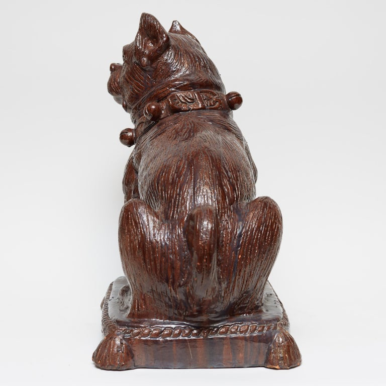 Early 20th Century German Glazed Terracotta Bulldog Sculpture For Sale