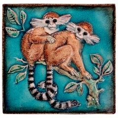 German Glazed Terracotta Monkey Tile by Karlshrue