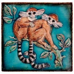 German Glazed Terracotta Monkey Tile by Karlshrue