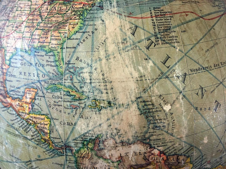 Map Of Germany Circa 1900.German Globe Circa 1900 With Compass For Sale At 1stdibs