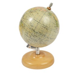 German Globe Made in the 1950s with Wooden Base