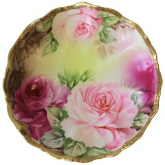German Gold Gilt Pink Roses Porcelain Jewelry Dish