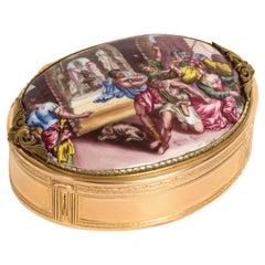 German Gold & Porcelain Snuff Box