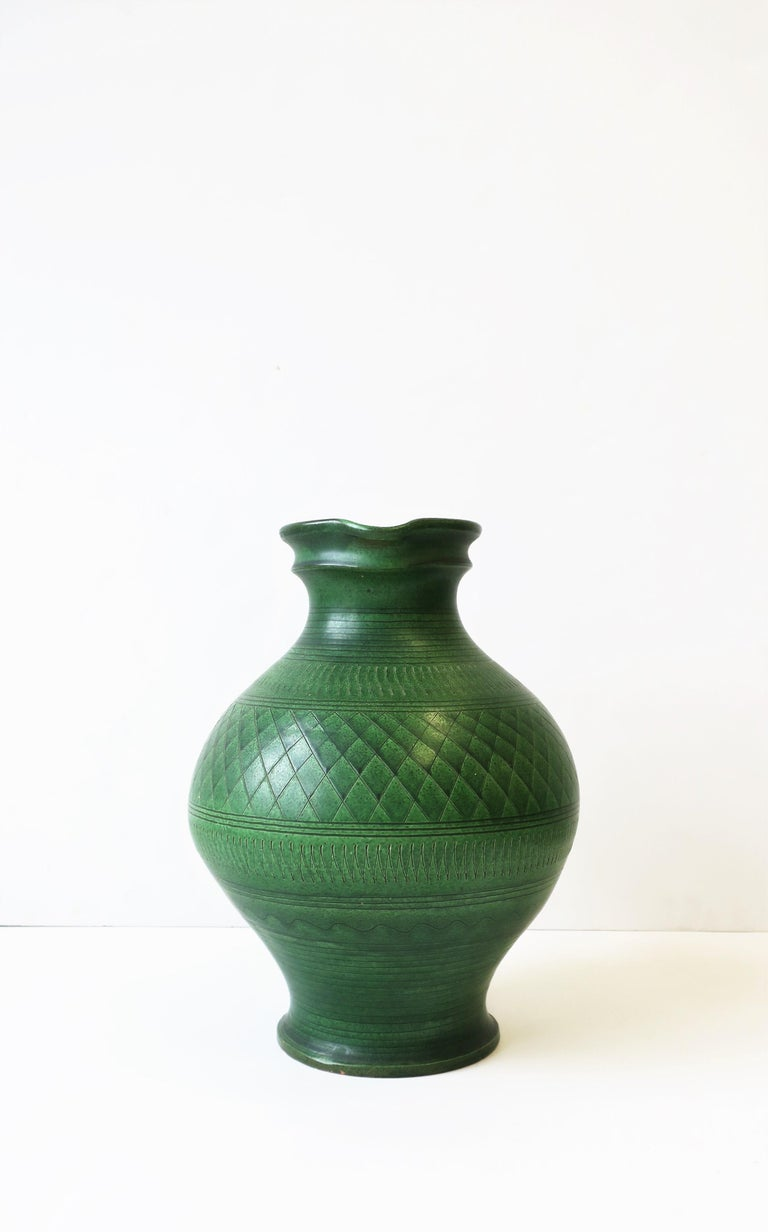 German Green Pottery Pitcher or Vase For Sale 5