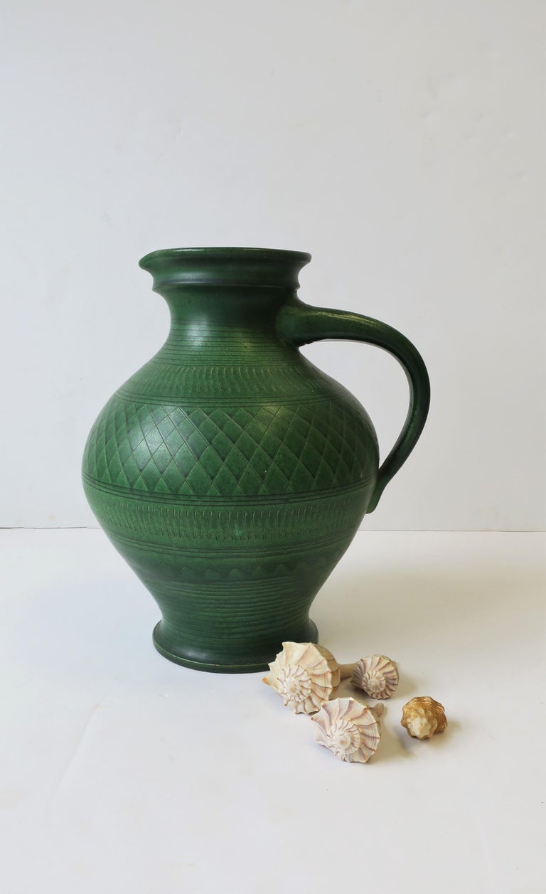 German Green Pottery Pitcher or Vase For Sale 6