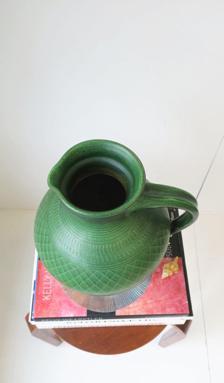 German Green Pottery Pitcher or Vase For Sale 7
