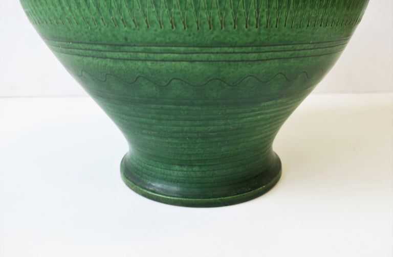 German Green Pottery Pitcher or Vase For Sale 9