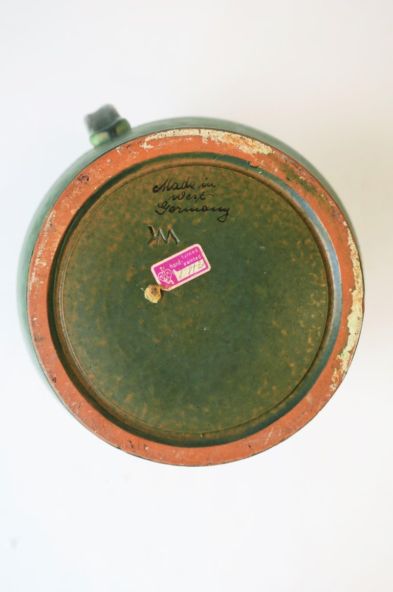 German Green Pottery Pitcher or Vase For Sale 12