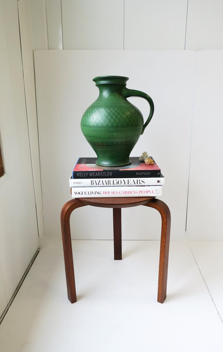 Art Nouveau German Green Pottery Pitcher or Vase For Sale