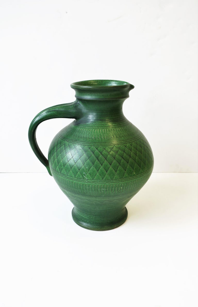 German Green Pottery Pitcher or Vase In Good Condition For Sale In New York, NY