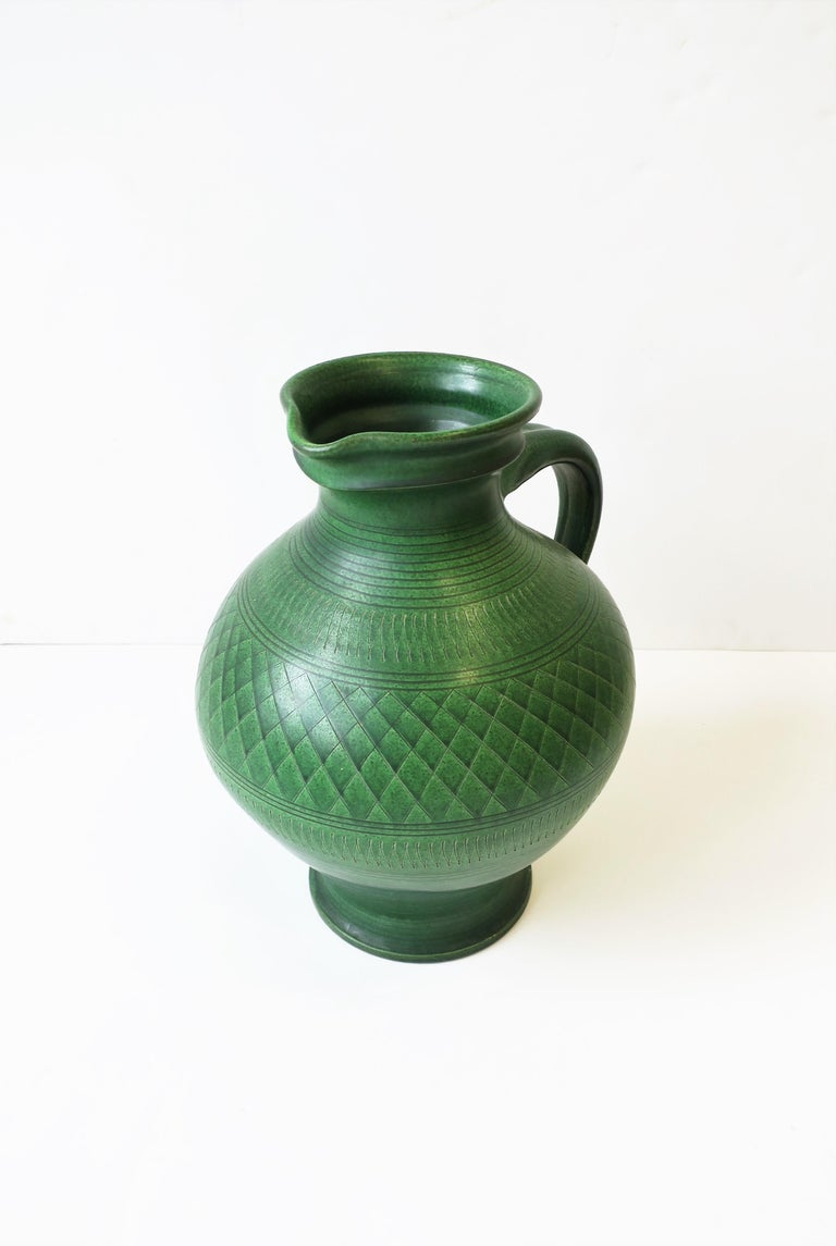 20th Century German Green Pottery Pitcher or Vase For Sale