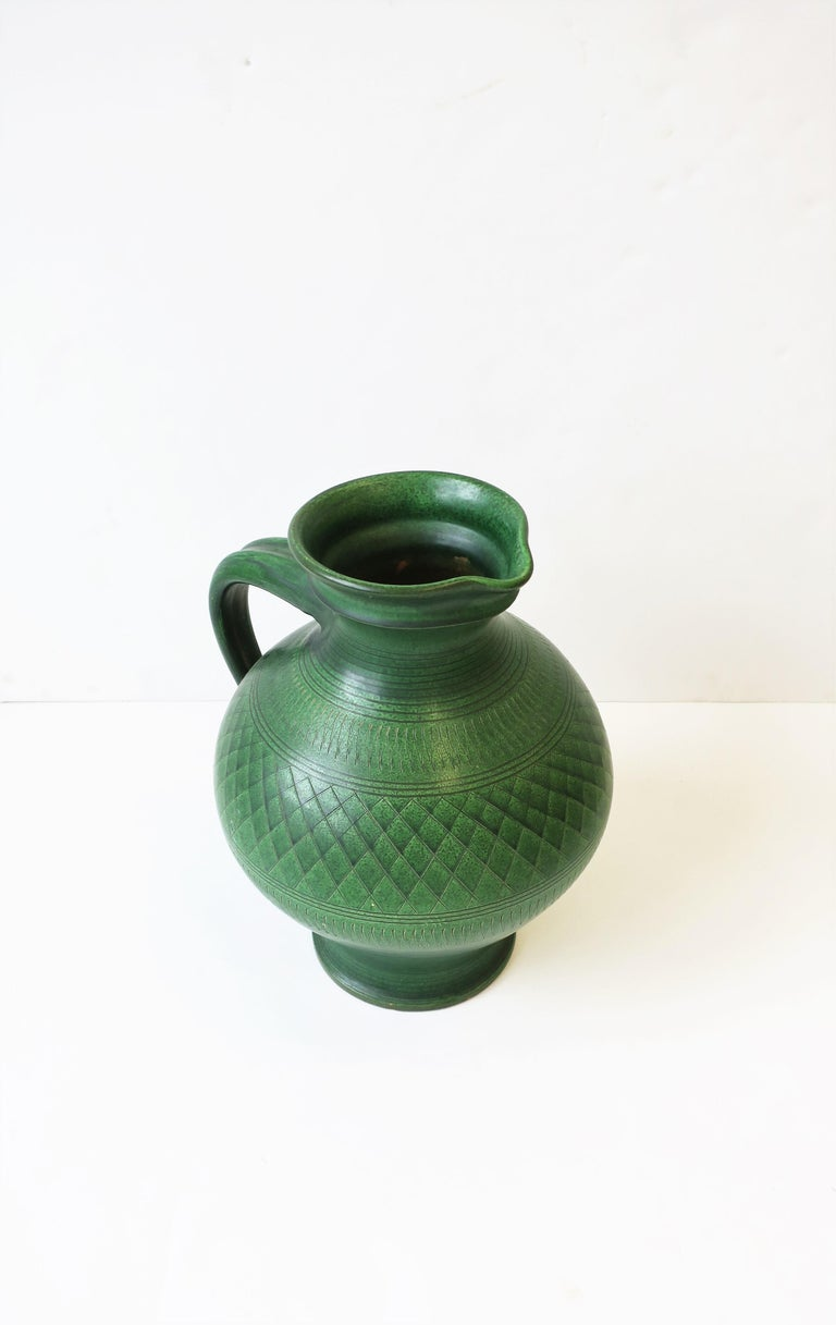 German Green Pottery Pitcher or Vase For Sale 1