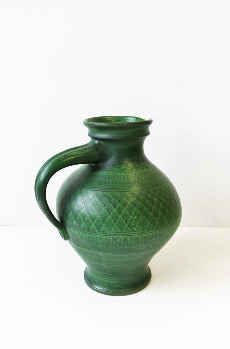 German Green Pottery Pitcher or Vase For Sale 3