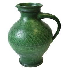 German Green Pottery Pitcher or Vase
