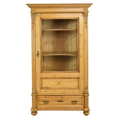 German Grunderzeit Glass Cupboard/ Bookcase in Pine, circa 1880