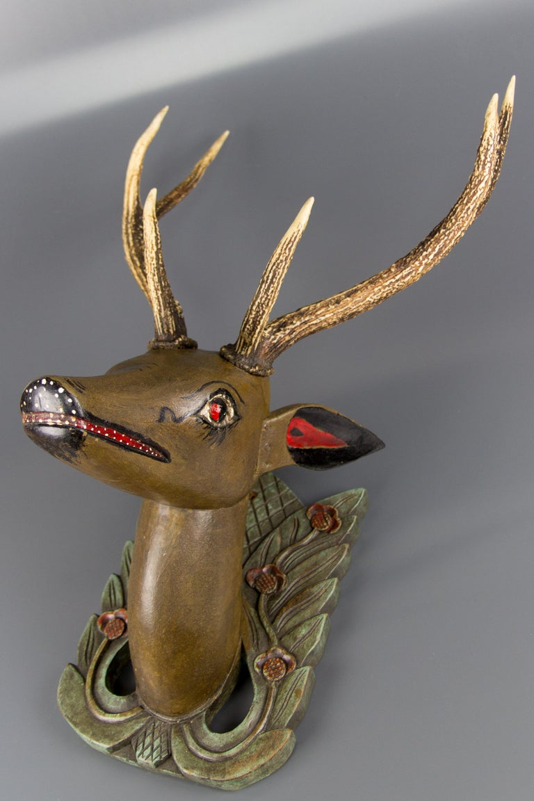 German Hand Carved and Hand Painted Wood Deer Head with Antlers, Wall Plaque For Sale 11