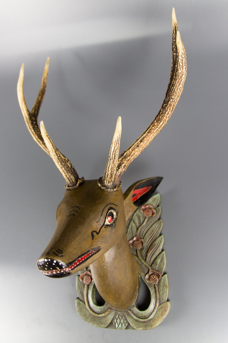 German Hand Carved and Hand Painted Wood Deer Head with Antlers, Wall Plaque For Sale 13