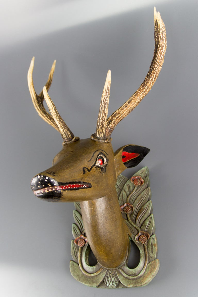 German Hand Carved and Hand Painted Wood Deer Head with Antlers, Wall Plaque For Sale 14