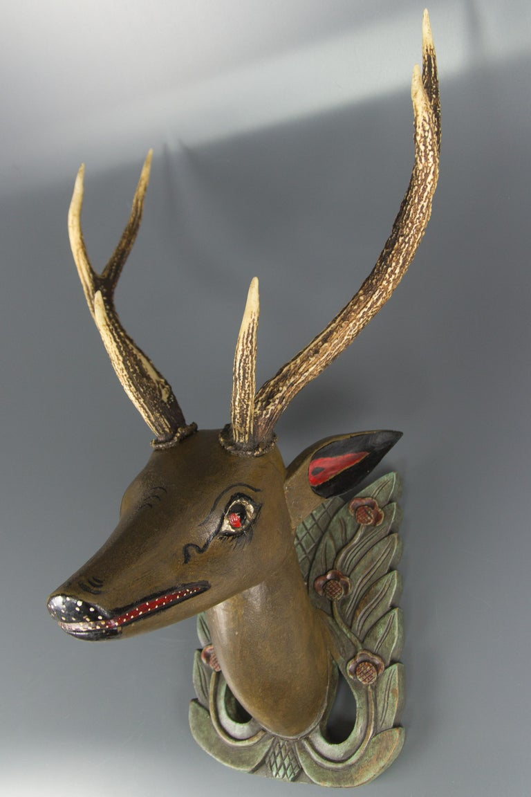 Art Nouveau German Hand Carved and Hand Painted Wood Deer Head with Antlers, Wall Plaque For Sale