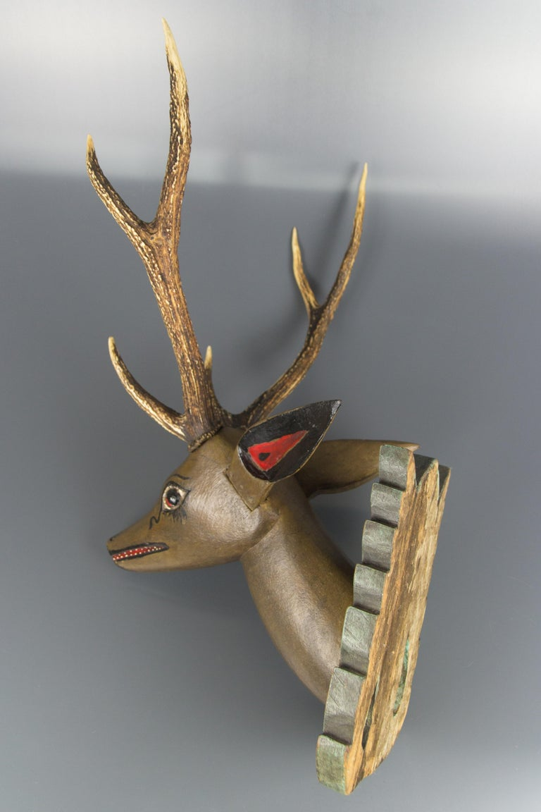 Hand-Carved German Hand Carved and Hand Painted Wood Deer Head with Antlers, Wall Plaque For Sale