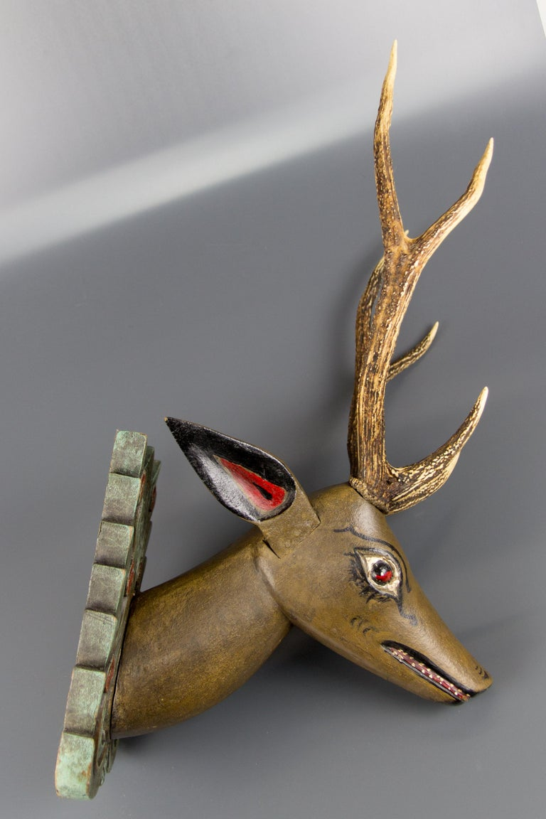 Early 20th Century German Hand Carved and Hand Painted Wood Deer Head with Antlers, Wall Plaque For Sale
