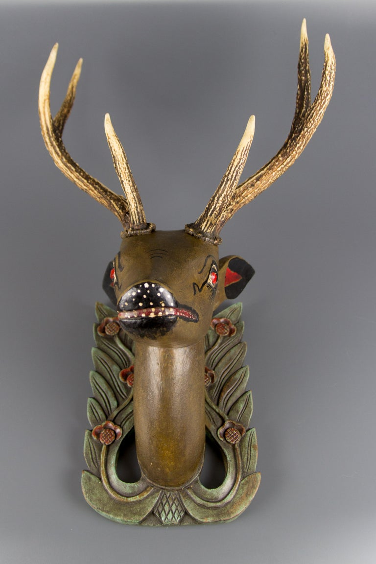 German Hand Carved and Hand Painted Wood Deer Head with Antlers, Wall Plaque For Sale 2