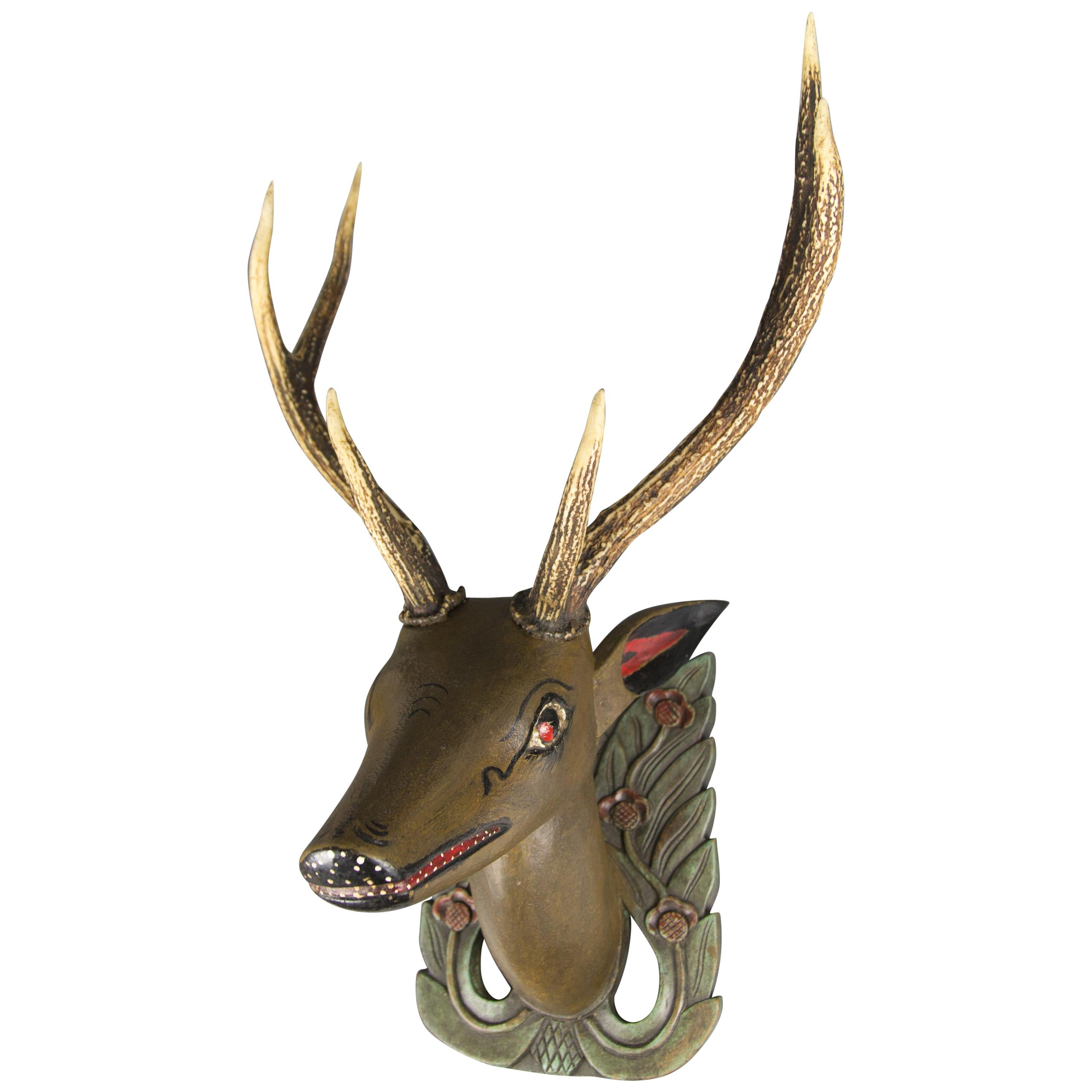 German Hand Carved and Hand Painted Wood Deer Head with Antlers, Wall Plaque