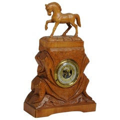 German Hand Carved Beechwood Equine Barometer