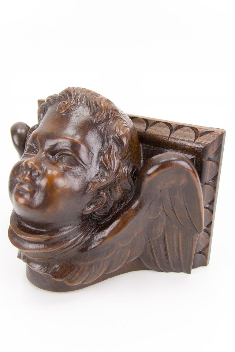 German Hand Carved Oak Wood Winged Angel Head Wall Console or Bracket Shelf For Sale 4