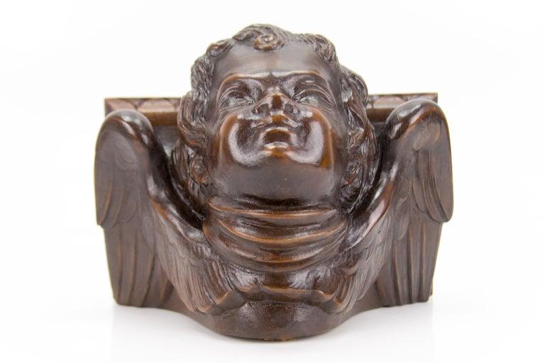 German Hand Carved Oak Wood Winged Angel Head Wall Console or Bracket Shelf For Sale 5