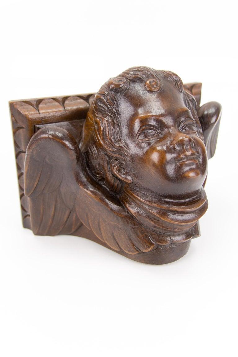 German Hand Carved Oak Wood Winged Angel Head Wall Console or Bracket Shelf For Sale 6