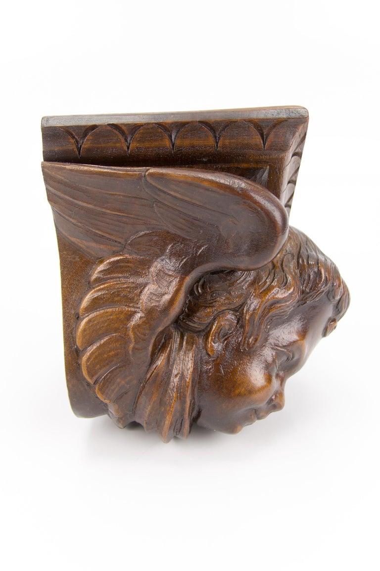 German Hand Carved Oak Wood Winged Angel Head Wall Console or Bracket Shelf For Sale 8