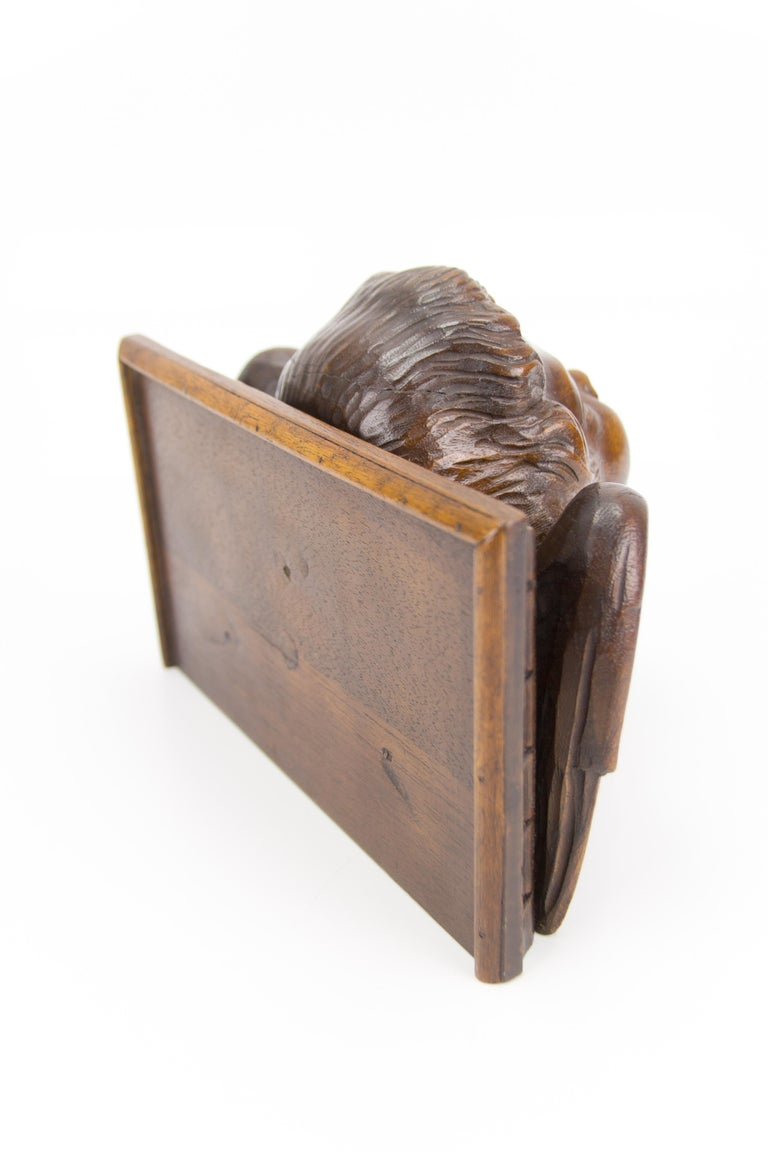 German Hand Carved Oak Wood Winged Angel Head Wall Console or Bracket Shelf For Sale 9