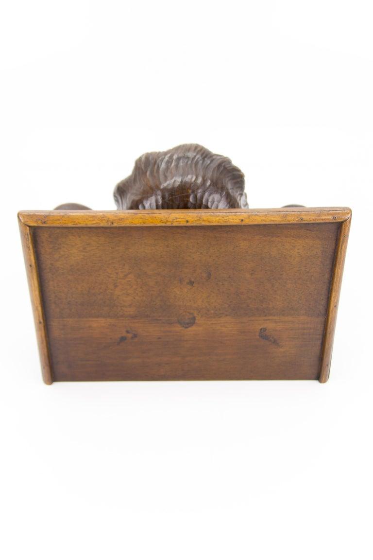 German Hand Carved Oak Wood Winged Angel Head Wall Console or Bracket Shelf For Sale 10