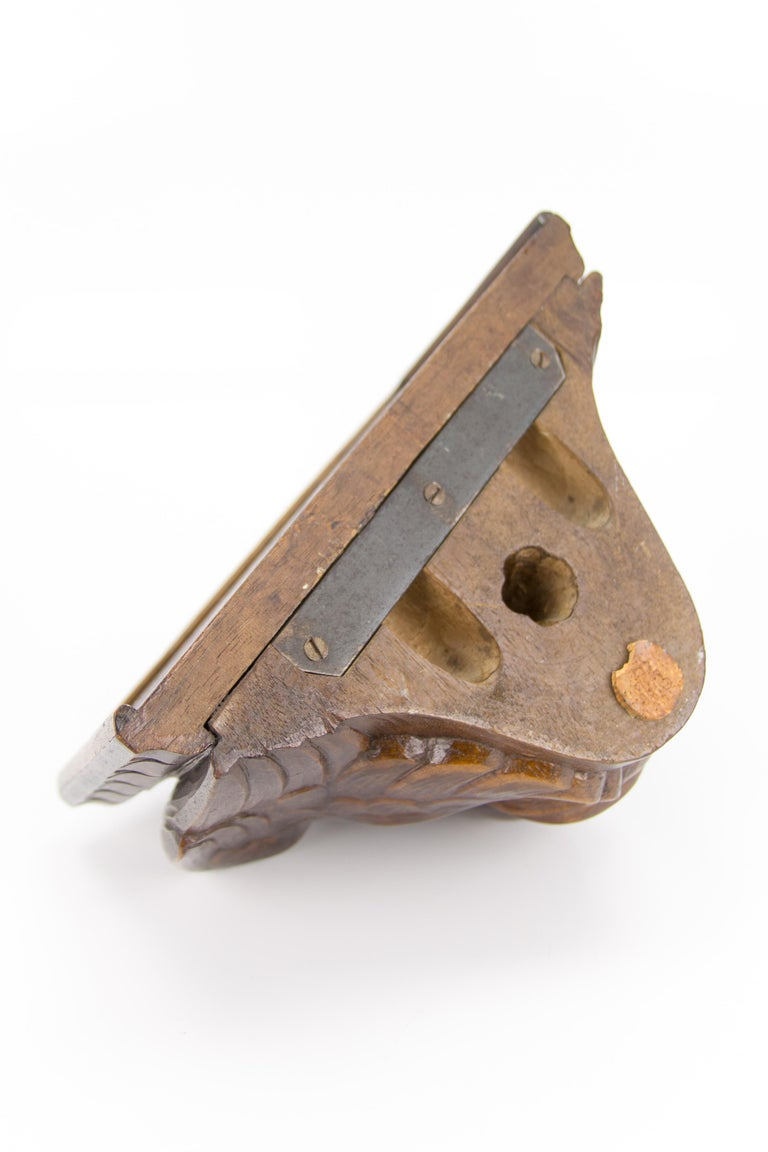 German Hand Carved Oak Wood Winged Angel Head Wall Console or Bracket Shelf For Sale 11