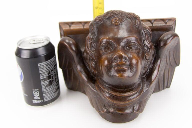German Hand Carved Oak Wood Winged Angel Head Wall Console or Bracket Shelf For Sale 14