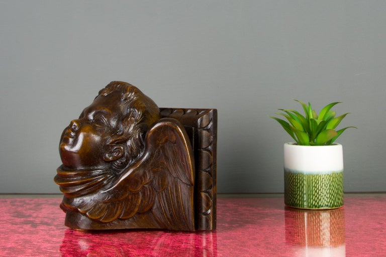 Baroque German Hand Carved Oak Wood Winged Angel Head Wall Console or Bracket Shelf For Sale