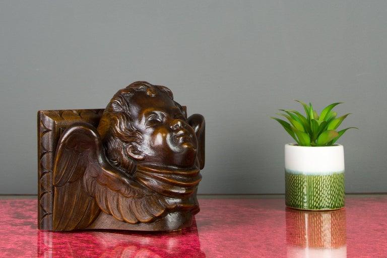 20th Century German Hand Carved Oak Wood Winged Angel Head Wall Console or Bracket Shelf For Sale