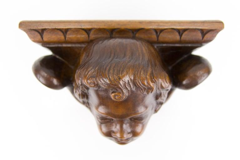 German Hand Carved Oak Wood Winged Angel Head Wall Console or Bracket Shelf For Sale 2