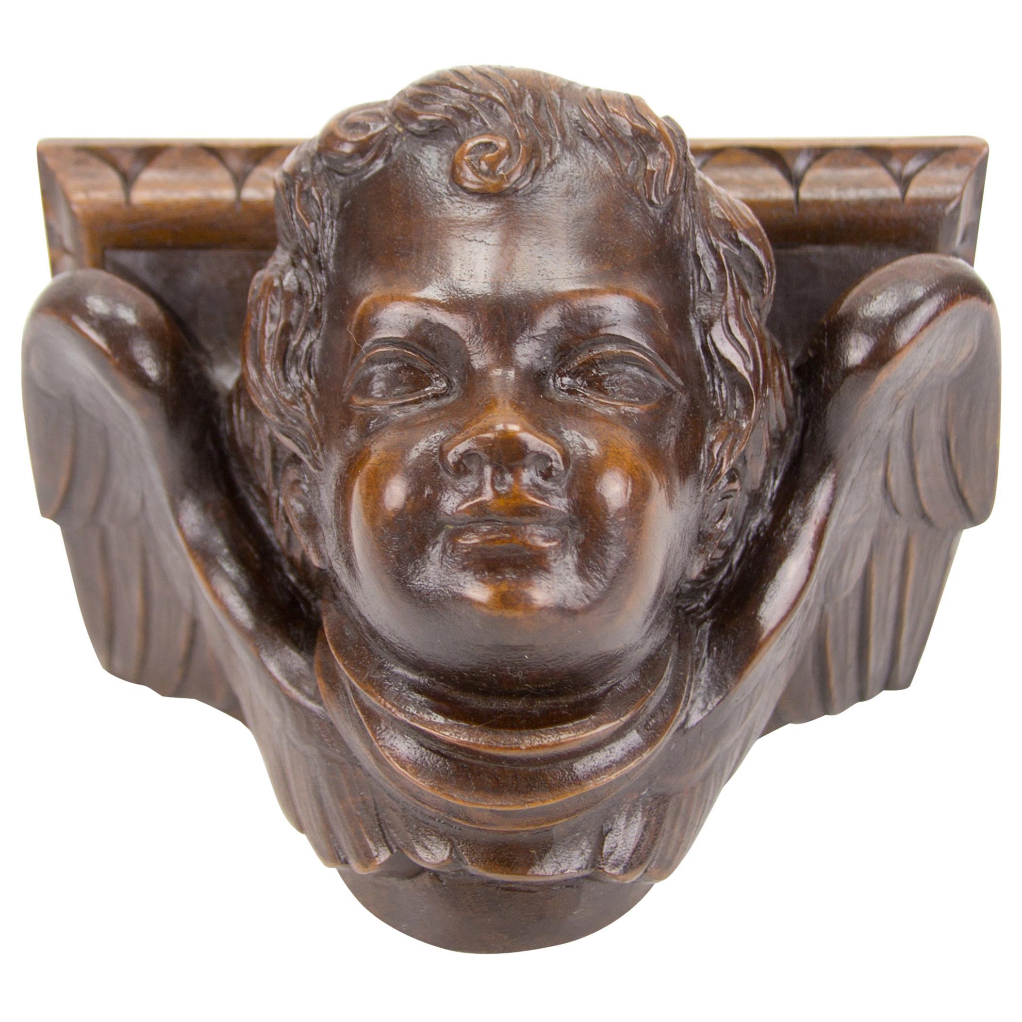 German Hand Carved Oak Wood Winged Angel Head Wall Console or Bracket Shelf