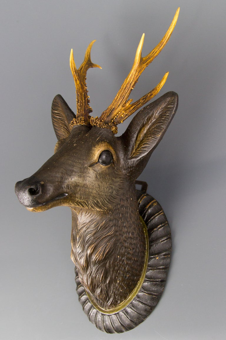 German Hand Carved Wooden Deer Head with Antlers on Carved Wall Plaque For Sale 9
