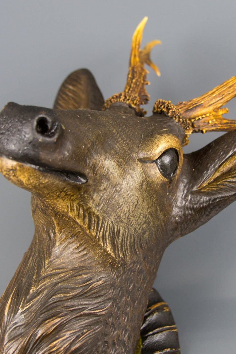 German Hand Carved Wooden Deer Head with Antlers on Carved Wall Plaque For Sale 10
