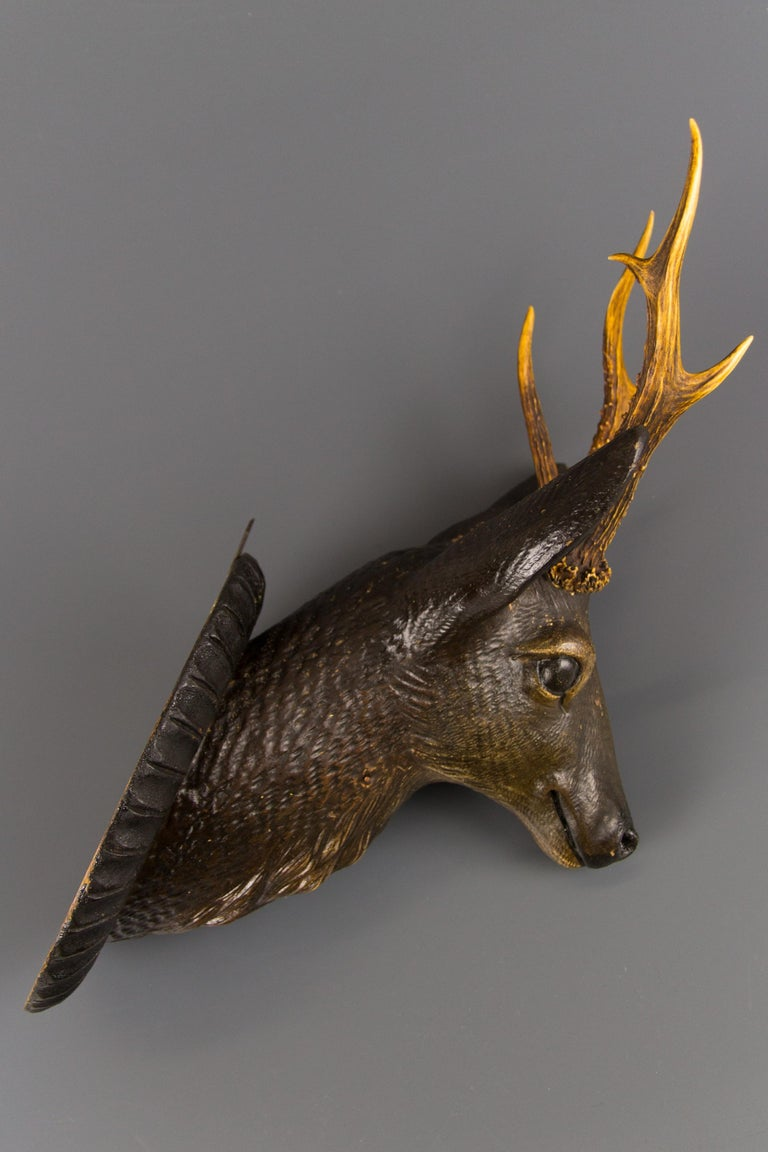 German Hand Carved Wooden Deer Head with Antlers on Carved Wall Plaque For Sale 13