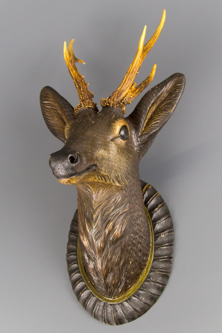 German Hand Carved Wooden Deer Head with Antlers on Carved Wall Plaque For Sale 14