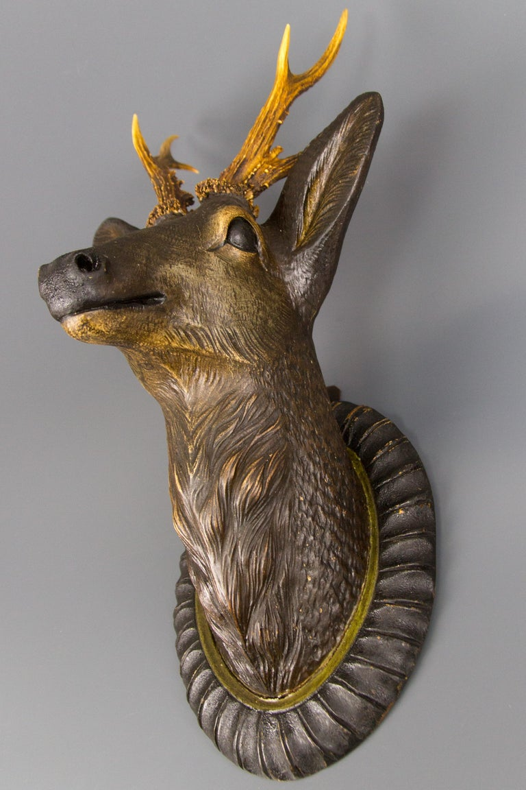 Black Forest German Hand Carved Wooden Deer Head with Antlers on Carved Wall Plaque For Sale