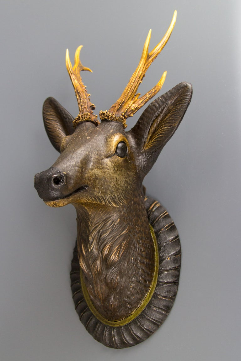 Hand-Carved German Hand Carved Wooden Deer Head with Antlers on Carved Wall Plaque For Sale
