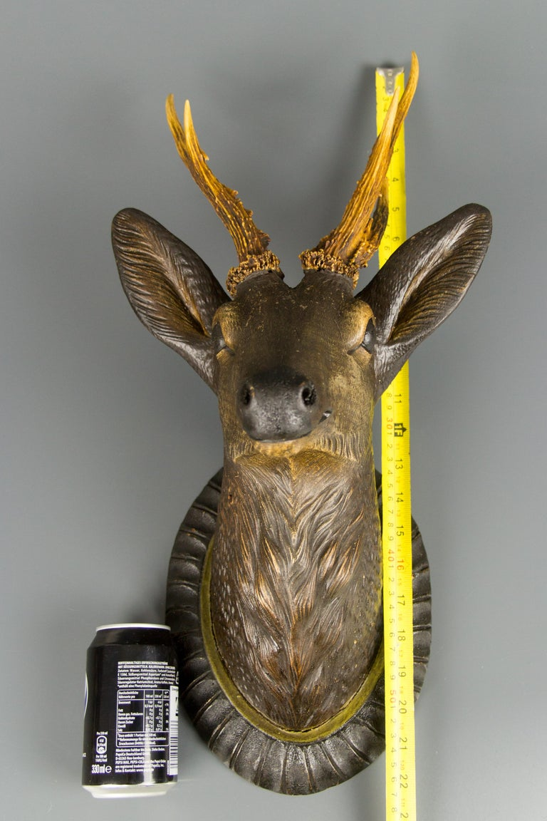 German Hand Carved Wooden Deer Head with Antlers on Carved Wall Plaque For Sale 2