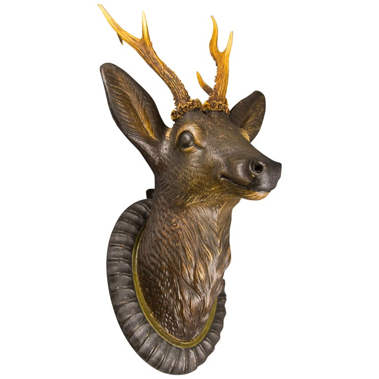 German Hand Carved Wooden Deer Head with Antlers on Carved Wall Plaque For Sale
